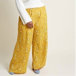 ModCloth yellow with flowers wide leg pant